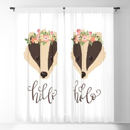 """Cute Badger Character. Badger in a Flower Crown. Hand Lettering """"hello"""". Modern Callgraphy Greetings Blackout Curtain"""