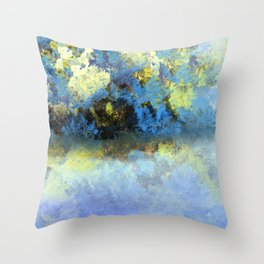 Bright Blue and Golden Pond Throw Pillow