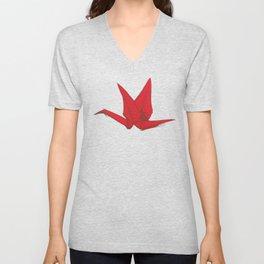 Origami red paper cranes sketch. burgundy maroon line Nature oriental Unisex V-Neck