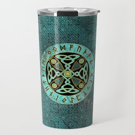 Decorative Celtic Cross  - and Runes alphabet Travel Mug