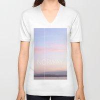 norway V-neck T-shirts featuring Norway by Hana Savana