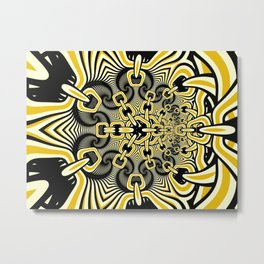 Retro Chains Fractal Metal Print