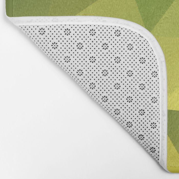 Abstract of triangles polygon in green yellow lime colors Bath Mat
