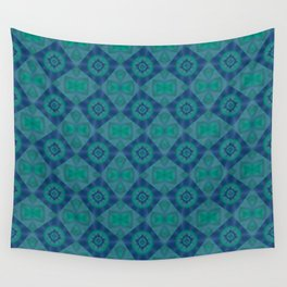 Jade and Blue Repeating Aurora Pattern Wall Tapestry