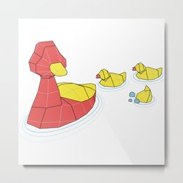 Mother Goose and her Ducklings going out for a swim Metal Print