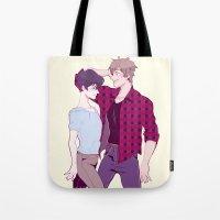 iwatobi Tote Bags featuring Haru and Makoto by Alyssa Tye