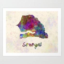Senegal in watercolor Art Print