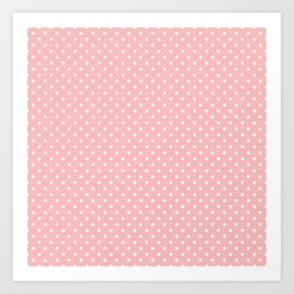 Mini Powder Pink with White Polka Dots Art Print