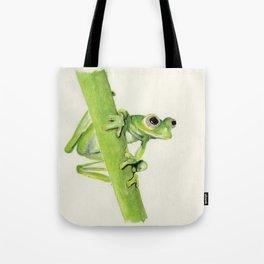 Glass Frog on leaf stem Tote Bag