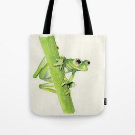 Glass Frog on leaf stem Tote Bag