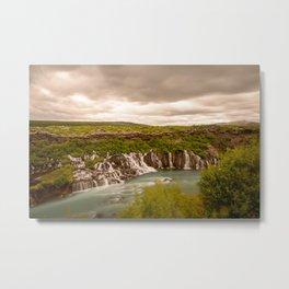 HRAUNFOSSAR SUMMER - ICELAND WATERFALL - LANDSCAPE PHOTOGRAPHY PRINT Metal Print