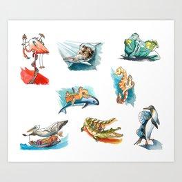 Salty Sea Animal Print Art Print