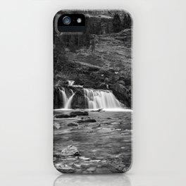 Redrock Falls bw - Glacier National Park iPhone Case