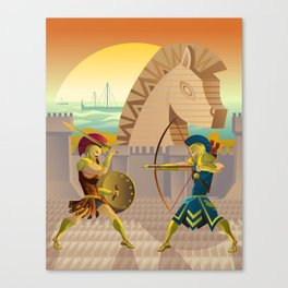 trojan war and troy horse Canvas Print