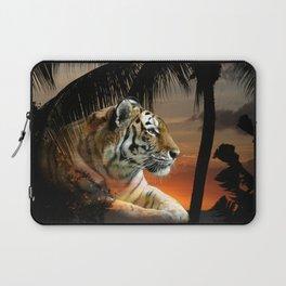 Tropical Tiger in Orange Sunset Laptop Sleeve