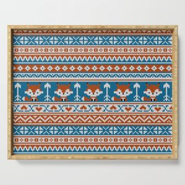 Fair Isle Fox - Blue Serving Tray