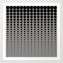 Reduced Black Polka Dots Pattern on Solid Pantone Pewter Background Art Print
