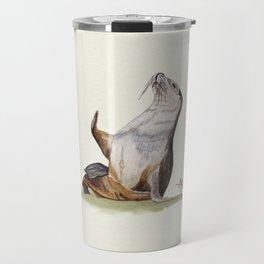 Sea Lion Watercolor Travel Mug