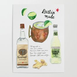 Austin Mule Cocktail Recipe Poster