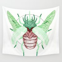 atlas Wall Tapestries featuring Thorned Atlas Beetle by Creeps by Caleb