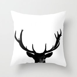 Black Deer Silhouette A273 Throw Pillow