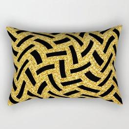 Sultry, Avant-Garde Black and Glitter Gold Art Deco Rectangular Pillow