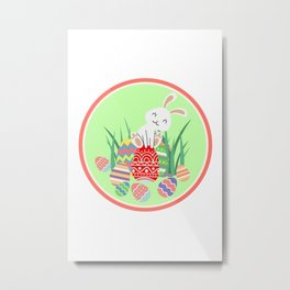 Baby bunny rabbit with colorful Easter eggs Metal Print