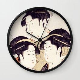 Three Beauties of the Present Day Geisha Print Wall Clock