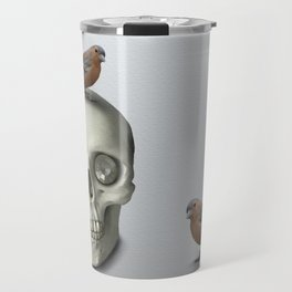 Skull & bird, watercolor Travel Mug