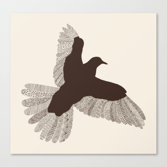 Bird (On Beige) Canvas Print