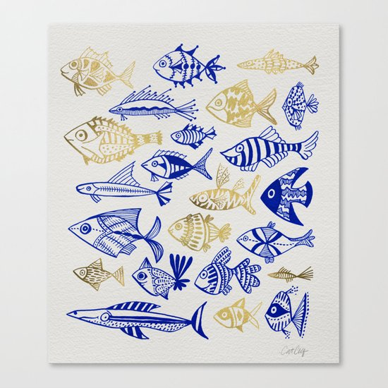 Inked Fish – Navy & Gold Canvas Print