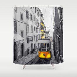 Lisbon Yellow Elevator Tram Shower Curtain