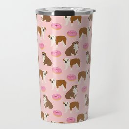 English Bulldog donuts funny pet portrait cute gift for dog person dog lover bulldog owner gifts Travel Mug