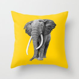 Bull elephant - Drawing In Pencil On Vintage Yellow Throw Pillow