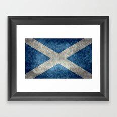 Flag of Scotland, Vintage Retro Style Framed Art Print