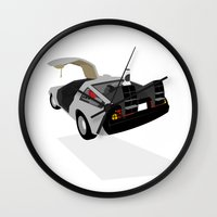 delorean Wall Clocks featuring Delorean (The 2015 Collection) by Cal Chan