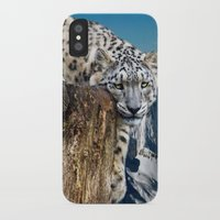 snow leopard iPhone & iPod Cases featuring snow leopard by Doug McRae