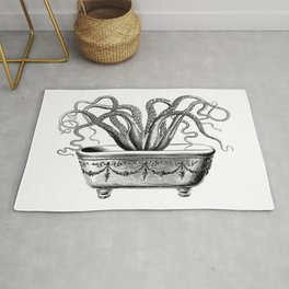 Tentacles in the Tub | Octopus in Bath | Vintage Octopus | Black and White | Rug