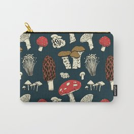 Mushroom Medley in Dark Teal Carry-All Pouch