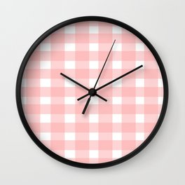 Pink Gingham Design Wall Clock