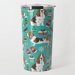 Basset Hound christmas pattern print pet friendly dog breed art for holiday decor Travel Mug