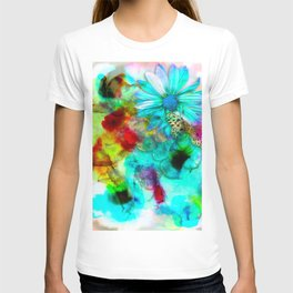 alcohol ink daisy-butterfly T-shirt