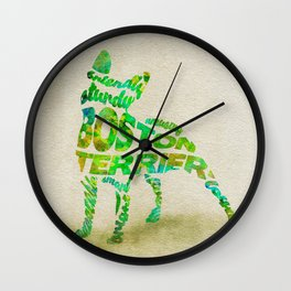 Boston Terrier Typography Art / Watercolor Painting Wall Clock