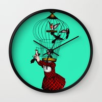 cage Wall Clocks featuring the cage by cappellosenzatesta