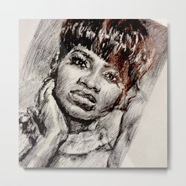 Black Woman in the Mirror Metal Print