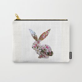 bunny rabbit silhouette floral left profile Carry-All Pouch