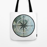 compass Tote Bags featuring Compass by madbiffymorghulis