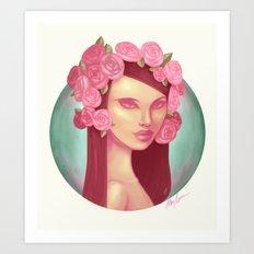 Pink Rose Queen Art Print