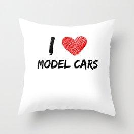 I Love Model Cars Throw Pillow