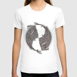 Pisces - Fish Koi - Japanese Tattoo Style (black and white) T-shirt